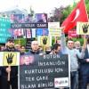 MURSİ'NİN İDAM KARARI BRÜKSEL'DE PROTESTO EDİLDİ