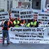 Taşımacılar yeni düzenlemeleri Brüksel'de protesto etti