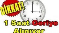 PAZAR GÜNÜ SAATLER GERİ ALINIYOR