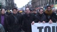 PARİS'TEKİ TERÖR BRÜKSEL'DE PROTESTO EDİLDİ