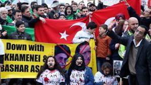 Brüksel'de Halep'e destek gösterisi düzenledi