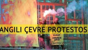 """AB Liderler Zirvesi binasında """"yangınlı"""" çevre protestosu"""