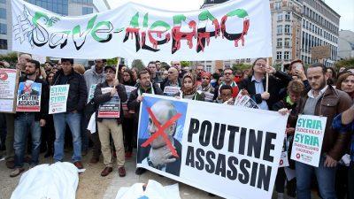 Halep'teki saldırılar Brüksel'de protesto edildi