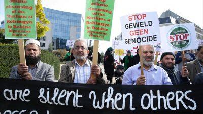 Arakan'da yaşanan vahşet, Brüksel'de protesto edildi
