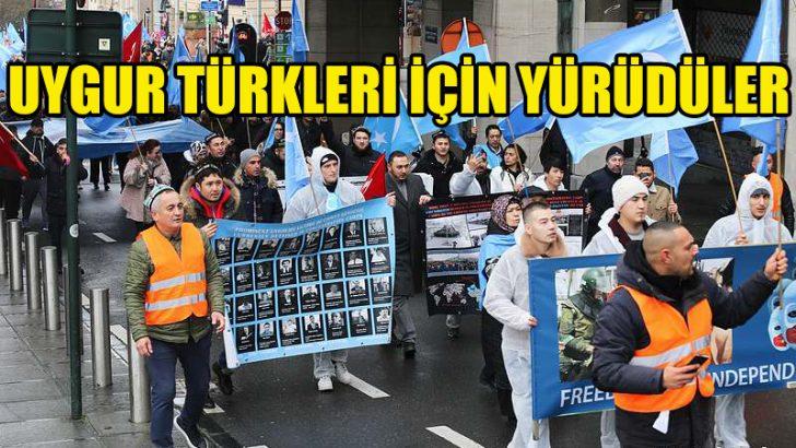 Uygur Türkleri için Brüksel'de büyük gösteri yapıldı