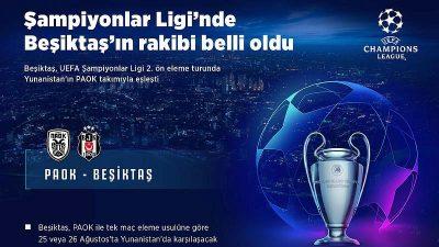 Beşiktaş'ın Şampiyonlar Ligi eleme turundaki rakibi belli oldu