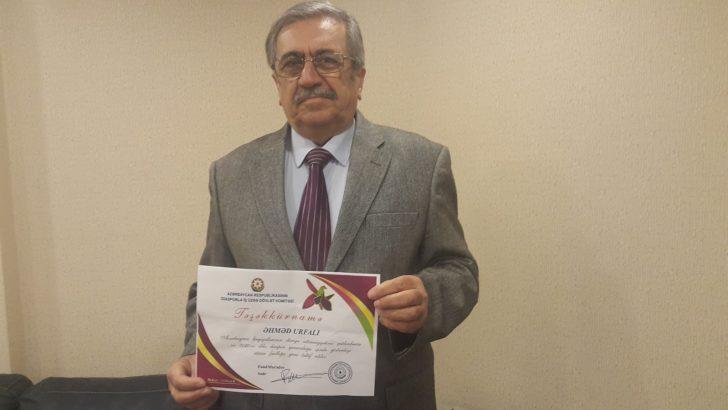 Şair-Yazar Ahmet Urfalı'ya, Azerbaycan'dan teşekkürname ödülü