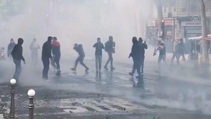 Fransa'da Filistin'e destek gösterisine polis müdahalesi
