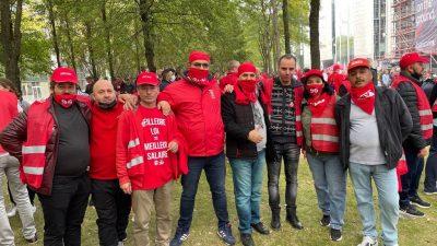 Brüksel'de binlerce işçi ücretlerine zam yapılmasına sınır koyan yasayı protesto etti